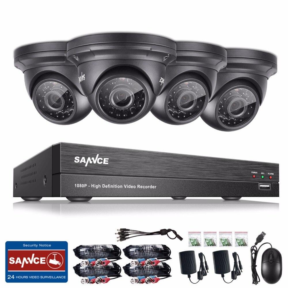SANNCE 8CH 1080P CCTV System HD 1080P DVR Kit 4PCS 2.0MP Security Cameras IR night waterproof Surveillance Kit 1TB HDD sannce cctv system hd 1080p 8ch dvr 8pcs 720p high resolution ir cut home security camera 8 channel video surveillance kit 1tb