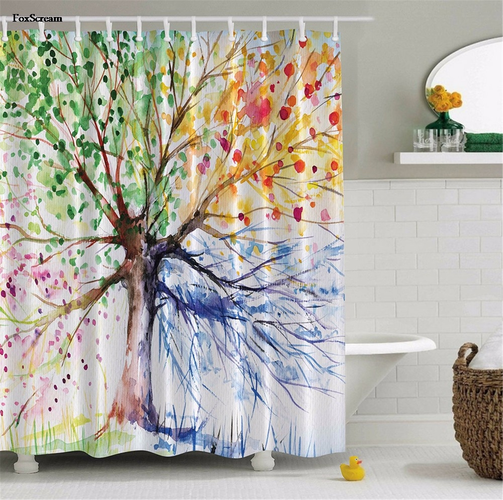 foxscream Colorful Tree Four Seasons Shower Curtain Green Red Yellow Navy Bathroom Decor With Hooks Waterproof Polyester