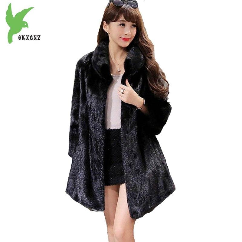 Hiver Femmes Imitation Fourrure Manteaux Nouvelle Mode Solide Couleur Tempérament Casual Tops Imitation Vison D'eau Chaleur Vestes OKXGNZ A713