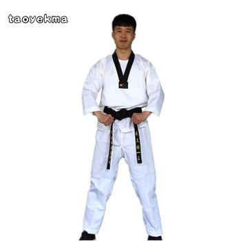 Calidad Dobok niño adulto uniforme de karate traje de Taekwondo, WTF kick boxeo marcial MMA arte ropa de entrenamiento dobok 55% de kimono de algodón