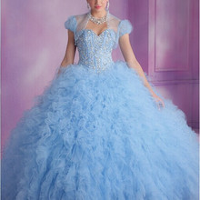 XGGandXRR 2018 Stunning Bahama Blue Ruffled Ball Gown