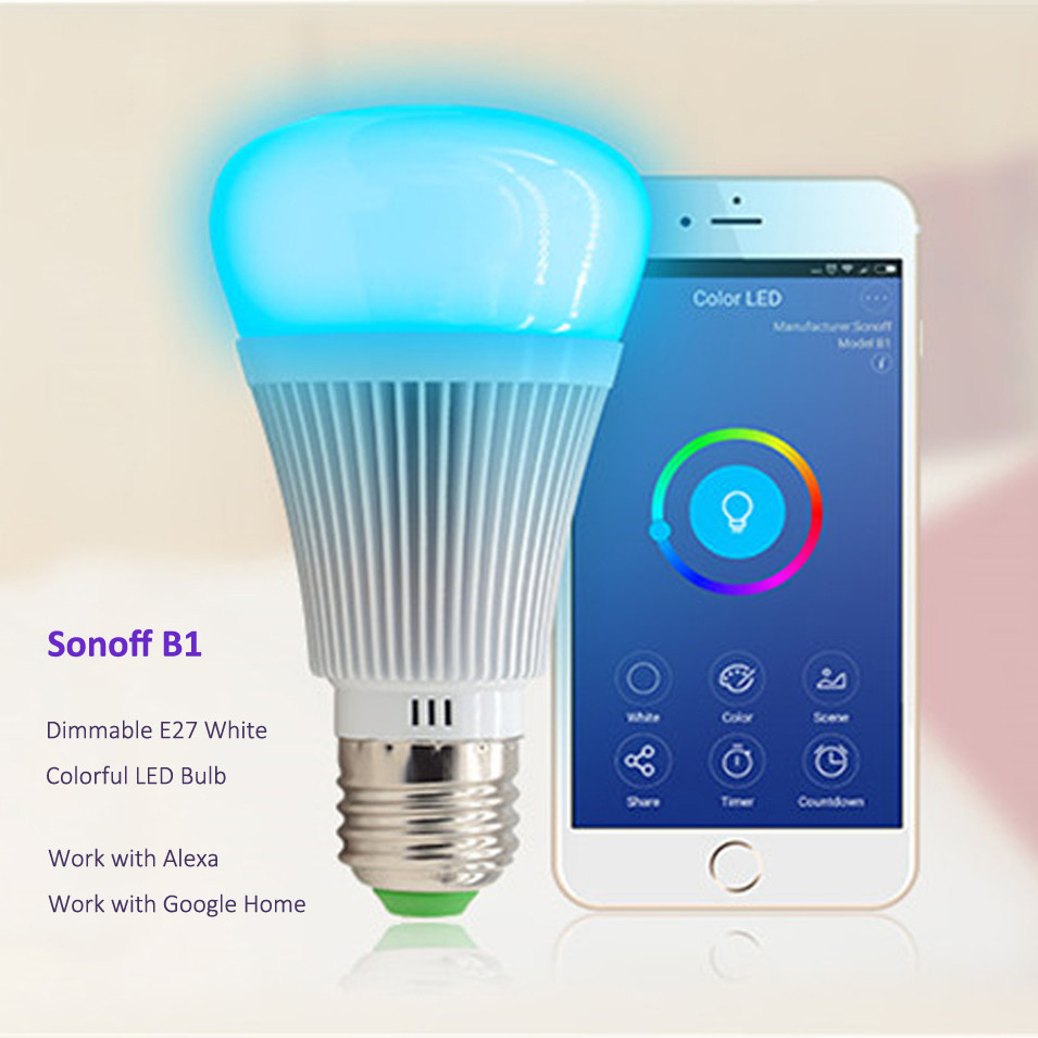 IN STOCK Sonoff B1 wifi Smart Dimmable RGB E27 LED Lamp Color Changing Timer Bulb Wireless Remote Control by Phone Smart Home