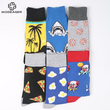 Modeager Colorful Winter Thick Skate Cool Men Socks Shark Pizza Food Animal Fruit Novelty Long Socks