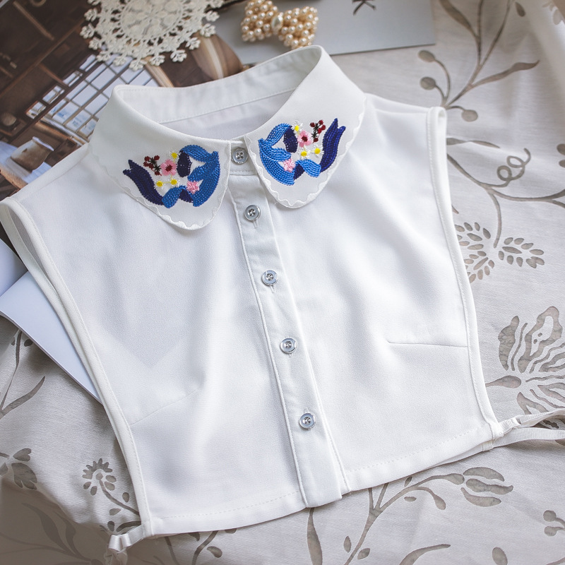 YSMILE Y New Arrived False Collar High Quality Very Cute Women Embroidery Organza Chiffon Shirt Collar Clothes Accessories P2282