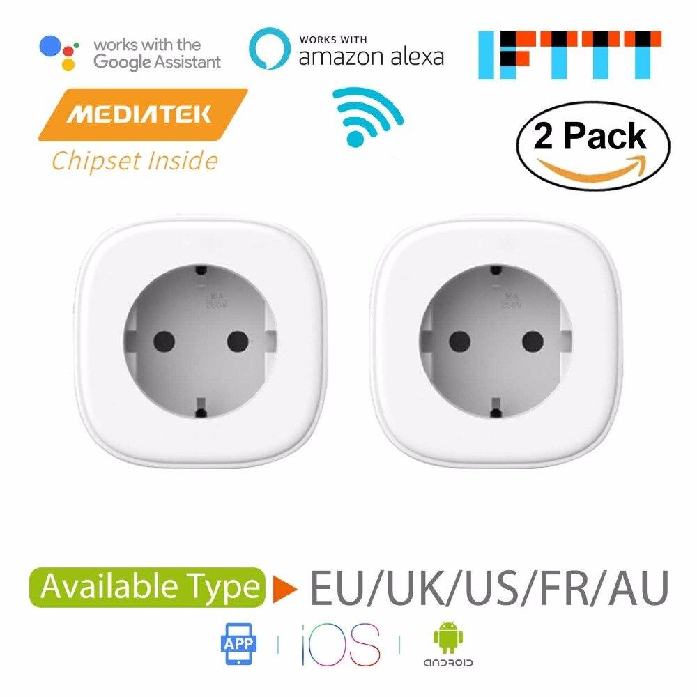 Smart WiFi Plug, Amazon Alexa et Google Assistant et IFTTT Pris En Charge, app Télécommande-2 Pack Meross MSS210/MSS310