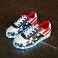 Nueva Arrinal 2016 Zapatos de Tamaño Grande 35-44 Luz LED USB los hombres Que Brilla Intensamente Led Moda Zapatos de Los Planos Zapatos Adultos Lumineuse 7 colores