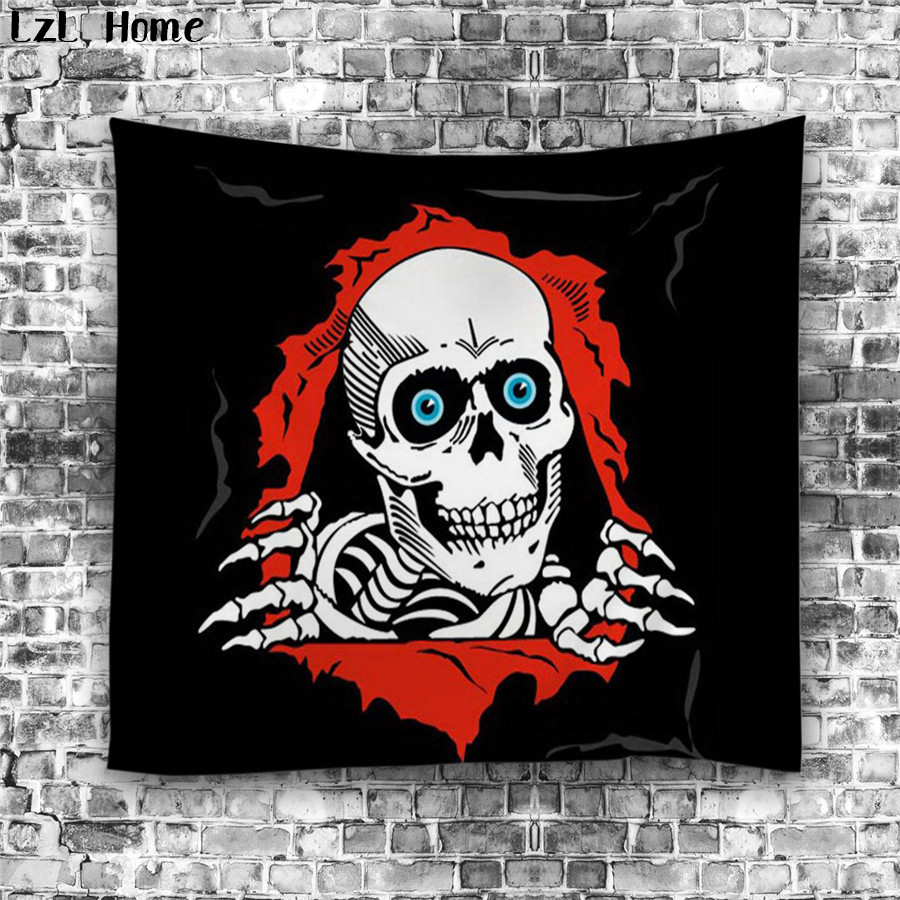 LzL Home Waterproof 3d Halloween Tapestry Nightmare Before Christmas Wall Hanging Blood Fingerprint Skull Beach <font><b>Towel</b></font> Yoga Mat