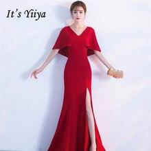 It's Yiiya Evening dress Zipper back V-neck Short-sleeves Party Gowns Elegant White black Floor-length Trumpet Prom dresses C186