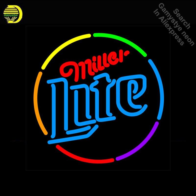 Miller Lite Multi couleur cercle néon signe néon lumière signe galss tubes Commercial loisirs salle lumière emblématique néon signe à vendre