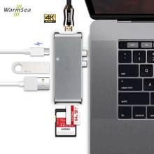 Тип USB c концентратор к HDMI 4 К USB-C адаптер Dongle док-станции Thunderbolt 3 комбо с портами USB 3.0, sd слот Micro SD карты для MacBook Pro