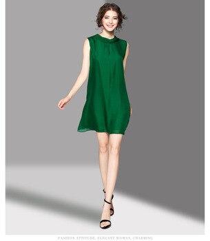 Vestido verde seda lazo trasero cuello redondo sin mangas 1