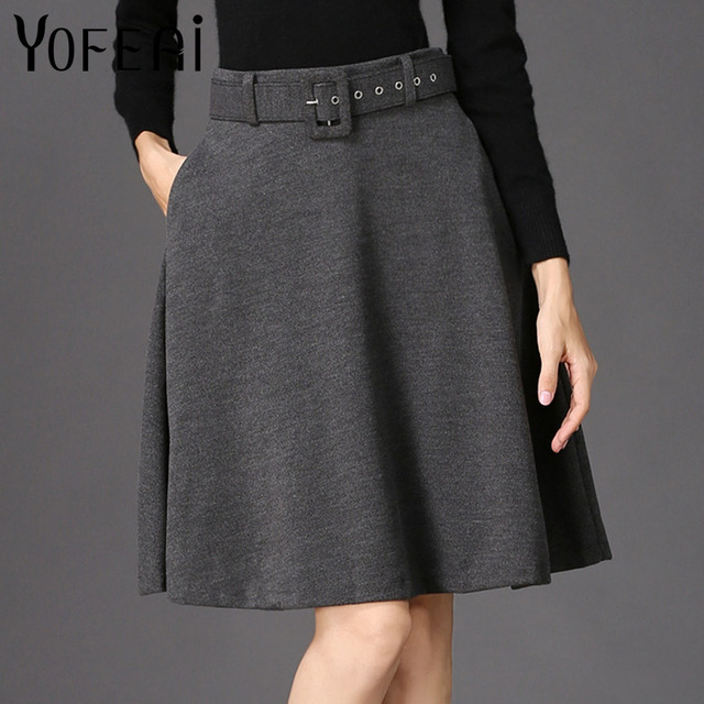 YOFEAI 2018 Women Skirt Fashion Autumn Winter Wool Skirt For Women High Waist Casual Warm Knee-Length Ladies Office Skirt 3