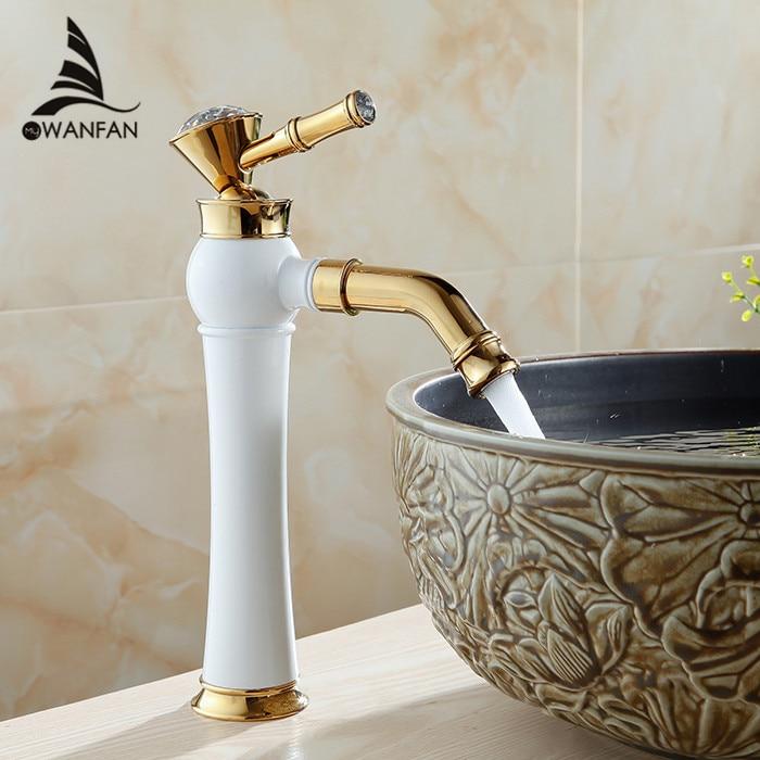 Basin Faucets Brass White Paint Golden Bathroom Sink Faucet Crystal Single Lever Rotate Spout Mixer Tap Hot Cold Water AL-7309DK golden brass kitchen faucet dual handles vessel sink mixer tap swivel spout w pure water tap