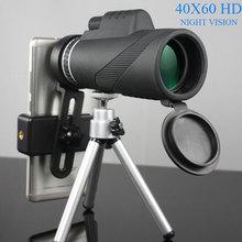 лучшая цена 40x60 HD Monocular Powerful Binoculars High Quality Zoom Great Handheld Telescope Night Vision Military Professional Hunting A