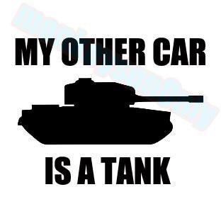 Auto nálepka DUB vtipné nálepky Moje druhé auto je nádrž 14,5 cm x 11 cm auto kamionu ebike vinyl reflexní nepromokavé nálepky