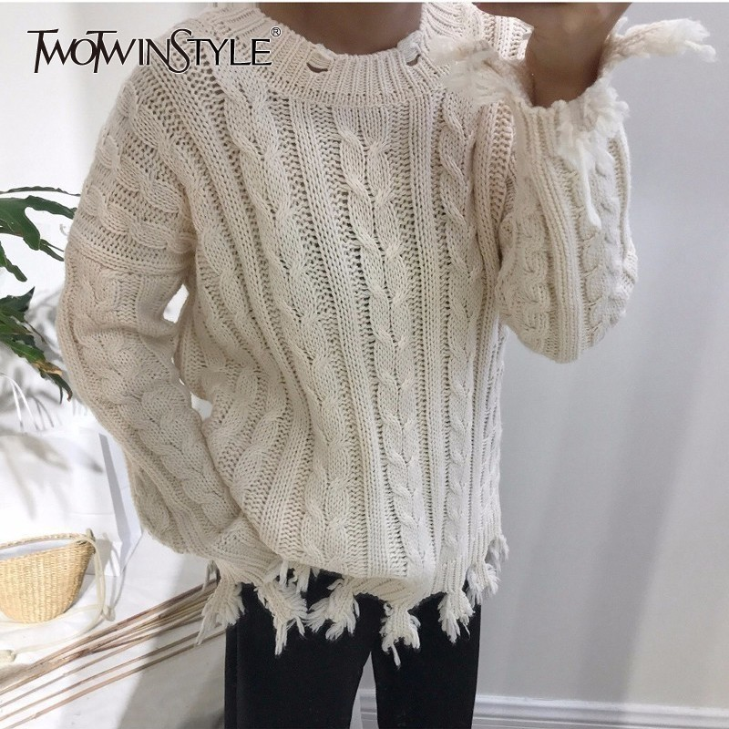 TWOTWINSTYLE Tassel Sweater Women Long Sleeves Knitting Pullover Tops Female Knitted Jumpers Casual Clothes 2018 Autumn Winter