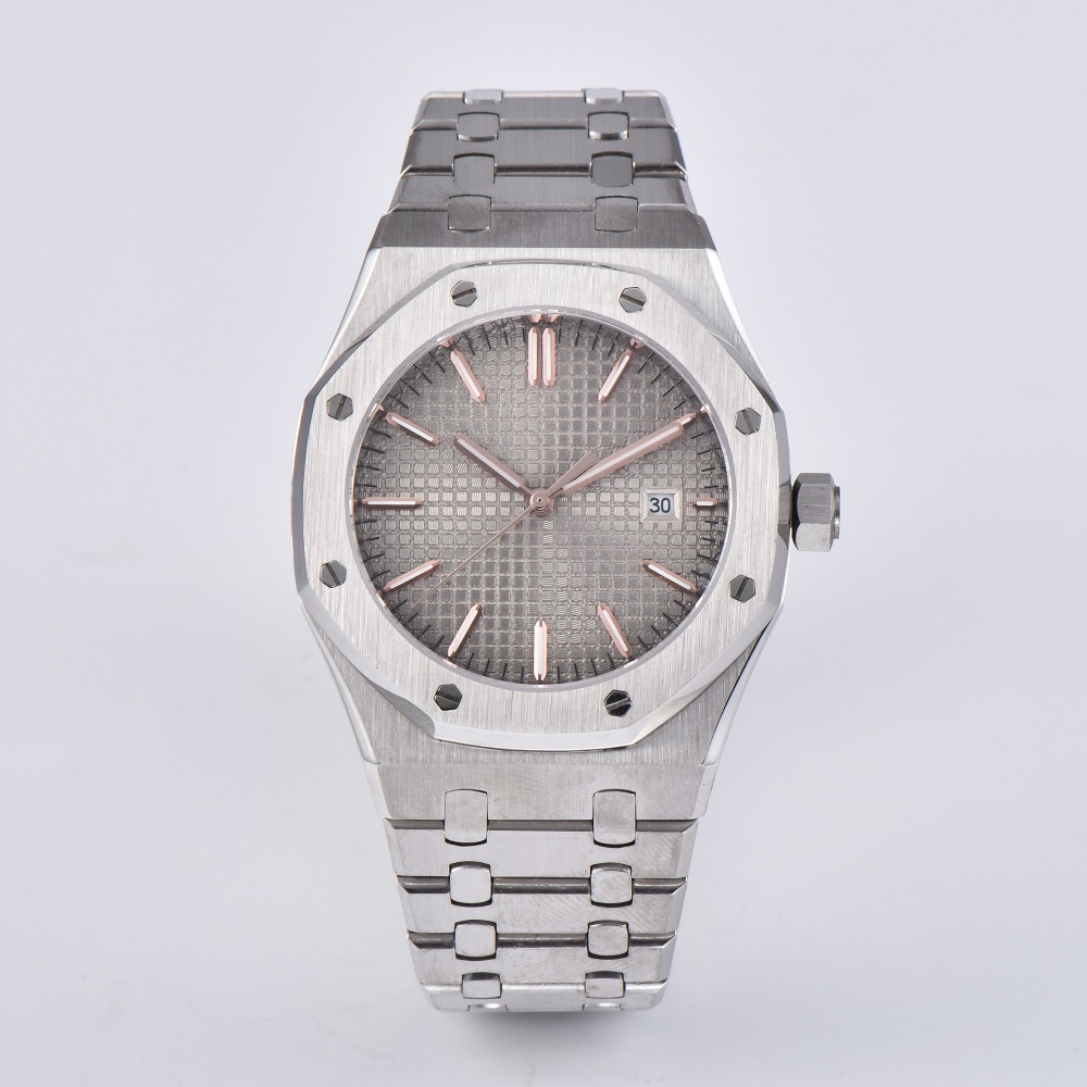 watch clock 41mm automatic gray dial sapphire crystal stainless steel strap  movement men PS-19