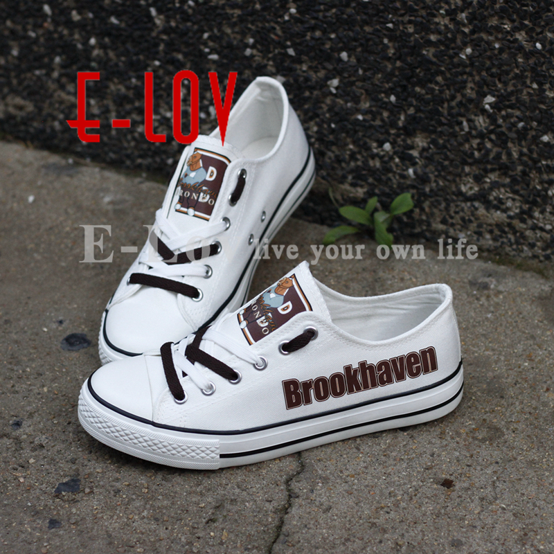 E-LOV New School Canvas Shoes Brookhaven Broncos Customization Print Casual Shoes Boys Walking Shoes Drop Shipping