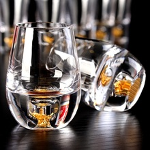 Domestic lead-free crystal glass wine gold foil KTV one  liquor cup bullet Cup Club