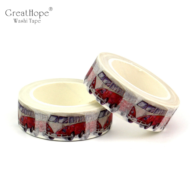 2PCS/lot Red Campervan Cars Decor Washi Tape Paper DIY Planner Scrapbooking Adhesive Tapes 1.5cm*10m School Office Supply