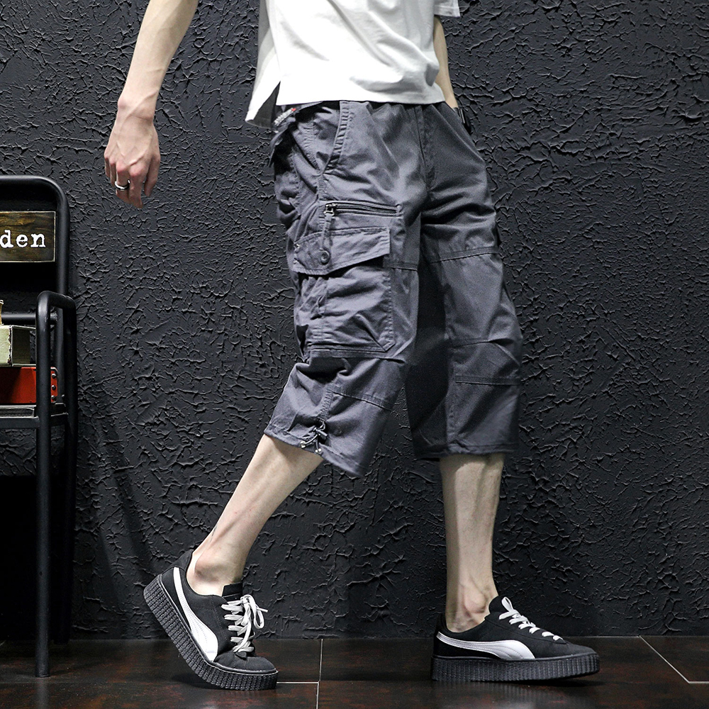 Mens Casual Twill Elastic Cargo Shorts Below Knee Loose Fit Multi-Pocket Capri Knee Length Shorts Male Comfortable Brand Shorts