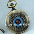 Русский Vingtage бронза медно-тон советский большевик механическая рука ветер брелок карманные часы мужские военная подвеска часы цепи