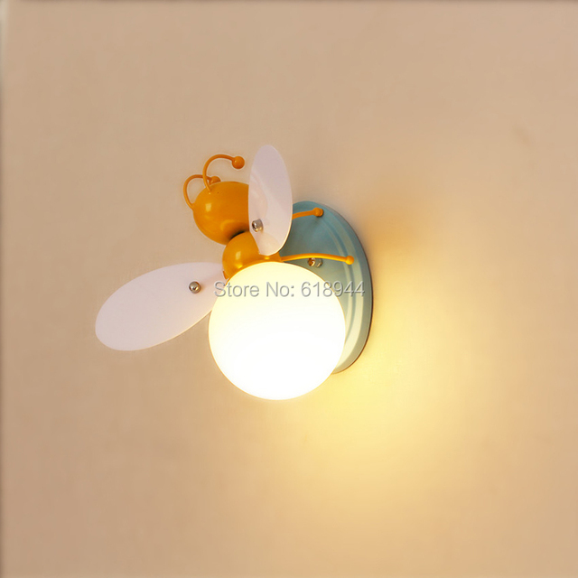 LED Children Wall Lamps. Boy and Girl Cartoon Lights Bedroom Beside ...
