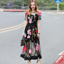 b34fd743f2 by Megyn Designer Runway Women s Short Sleeve Gold thread Embroidery Sexy  Dress
