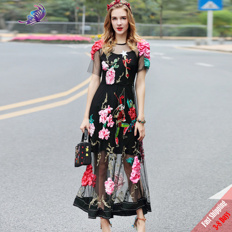 High Quality 2017 Designer Runway Dress Women's Short Sleeve Gold thread Embroidery Sexy Floral Appliques Long Dress Free DHL