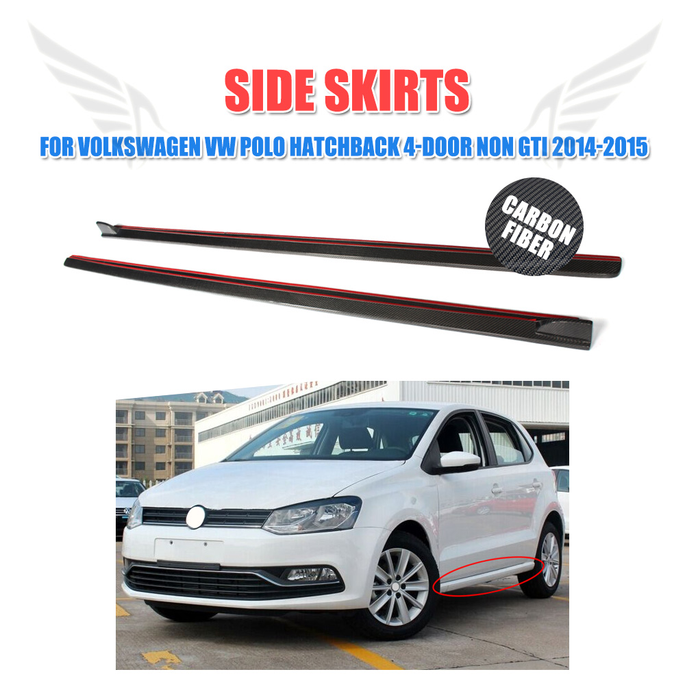 Carbon fiber side skirts lip chin spoiler aprons body kit fit for volkswagen vw polo 4