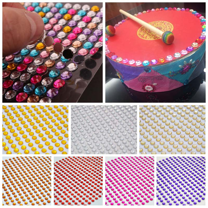 Detail Feedback Questions about 900Pcs sheet 4mm Self adhesive Rhinestones  Flatback Acrylic Stickers DIY Crafts Mobile Car Decor Nail Art Gem Wall  Stickers ... d3fc68953cb2