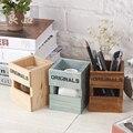 Nueva creativo Retro De Madera Portalápices Oficina de La Escuela Estudiantes Lápiz caja de almacenamiento de escritorio Titular de regalo 914