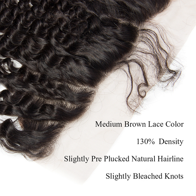 Aibele Brazilian Deep Wave Lace Frontal Closure 1Pc 10″-20″ Ear To Ear 13×4 Closure Pre Plucked Natural Hairline Remy Human Hair