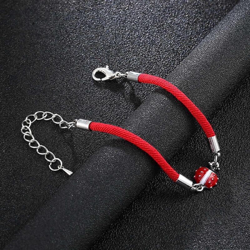 Masz szczęście, czerwona linka bez krawędzi biedronka bransoletka love charm pleciony czerwona linka bransoletka dla kobiet mężczyzn regulowany ręcznie bransoletka