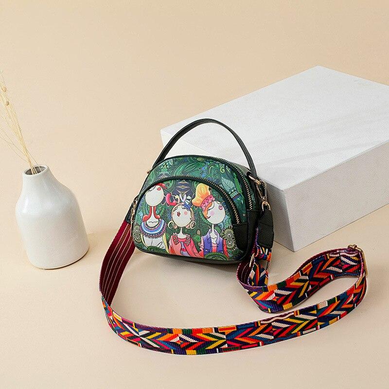 Summer woman Bags for women 2018 womens handbags green forest cartoon printing bag wide strap shoulder bag Messenger mini bag