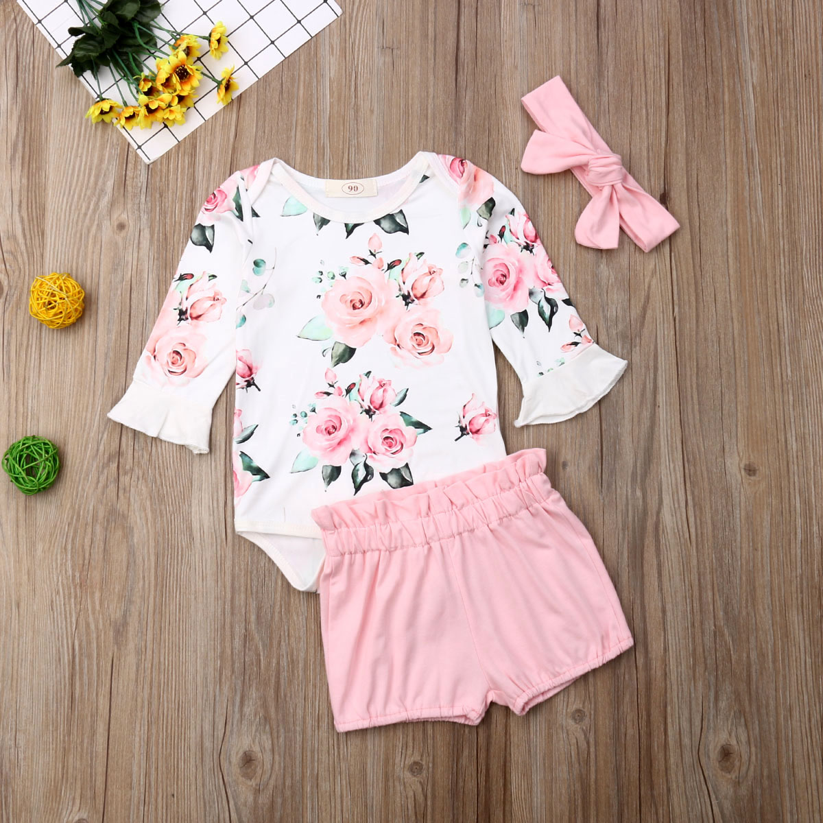 US 3PCS Newborn Baby Girl Long Sleeve Floral Romper+Short Pants Outfits Clothes