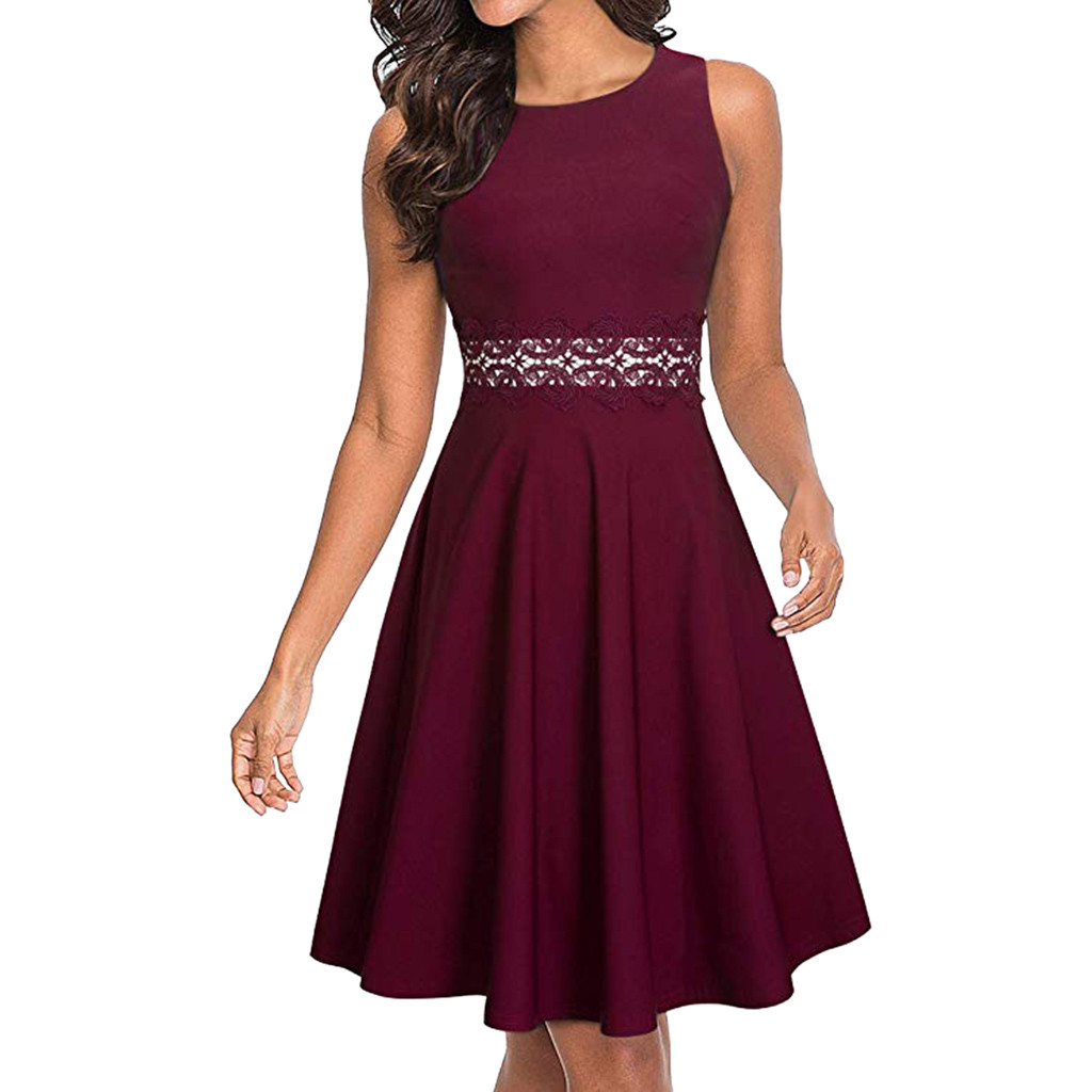 feitong lace stitching dress women's sleeveless cocktail a