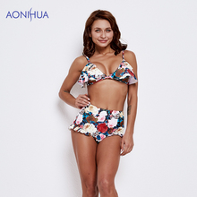 AONIHUA Bikini Women Swimsuit Floral Flower Design Two Piece Swimwear Padded Bras Female Beach Wear Bathing Suits Set