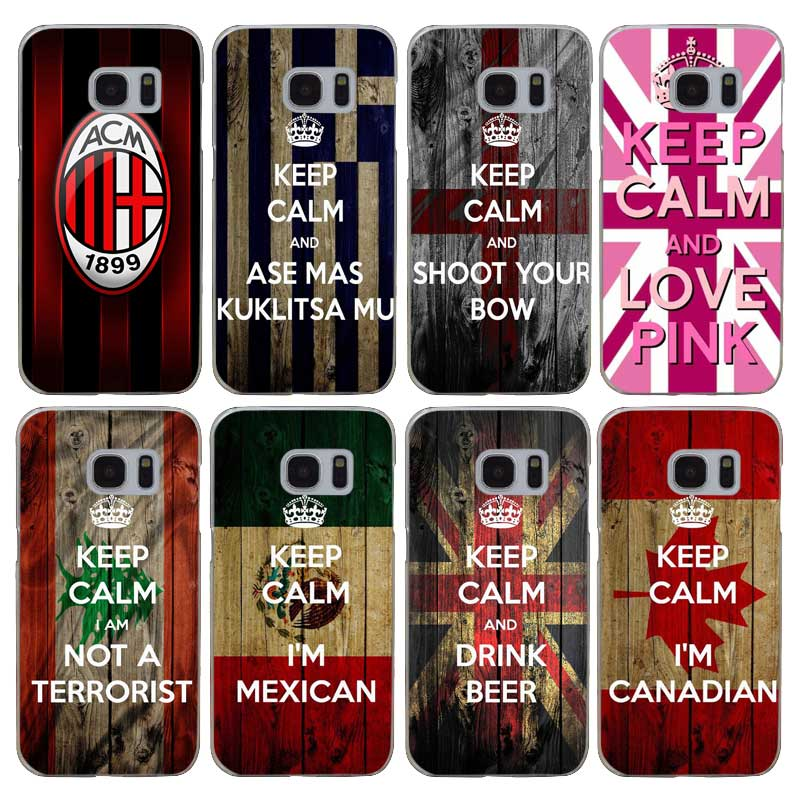 H510 Keep Calm And Carry On Flag Transparent Hard PC Case Cover For Samsung Galaxy S 3 4 5 6 7 8 Mini Edge Plus Note 3 4 5 8