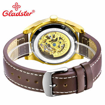 Gladster Luxury Brand Men Automatic Mechanical Wristwatch Hollowed-out Skeleton Emblem Male Watch Coupon Sapphire Glass Clocks