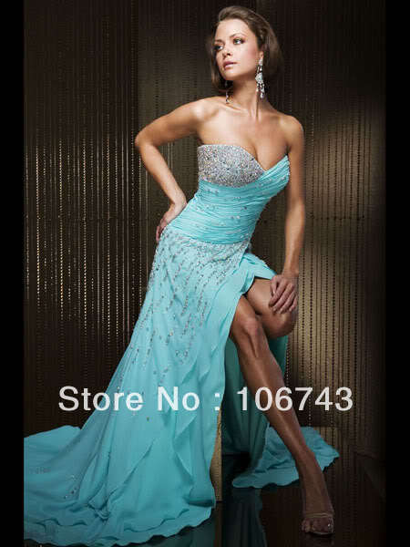 free shipping 2016 blue maxi style Sexy vestidos brides Custom formales crystal beading party prom gown   bridesmaid     dresses
