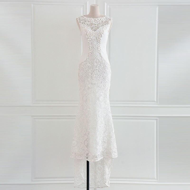 2017 haute qualité mode nouveau o-cou sans manches pur blanc broderie disque fleurs perles queue de poisson formelle longue robe