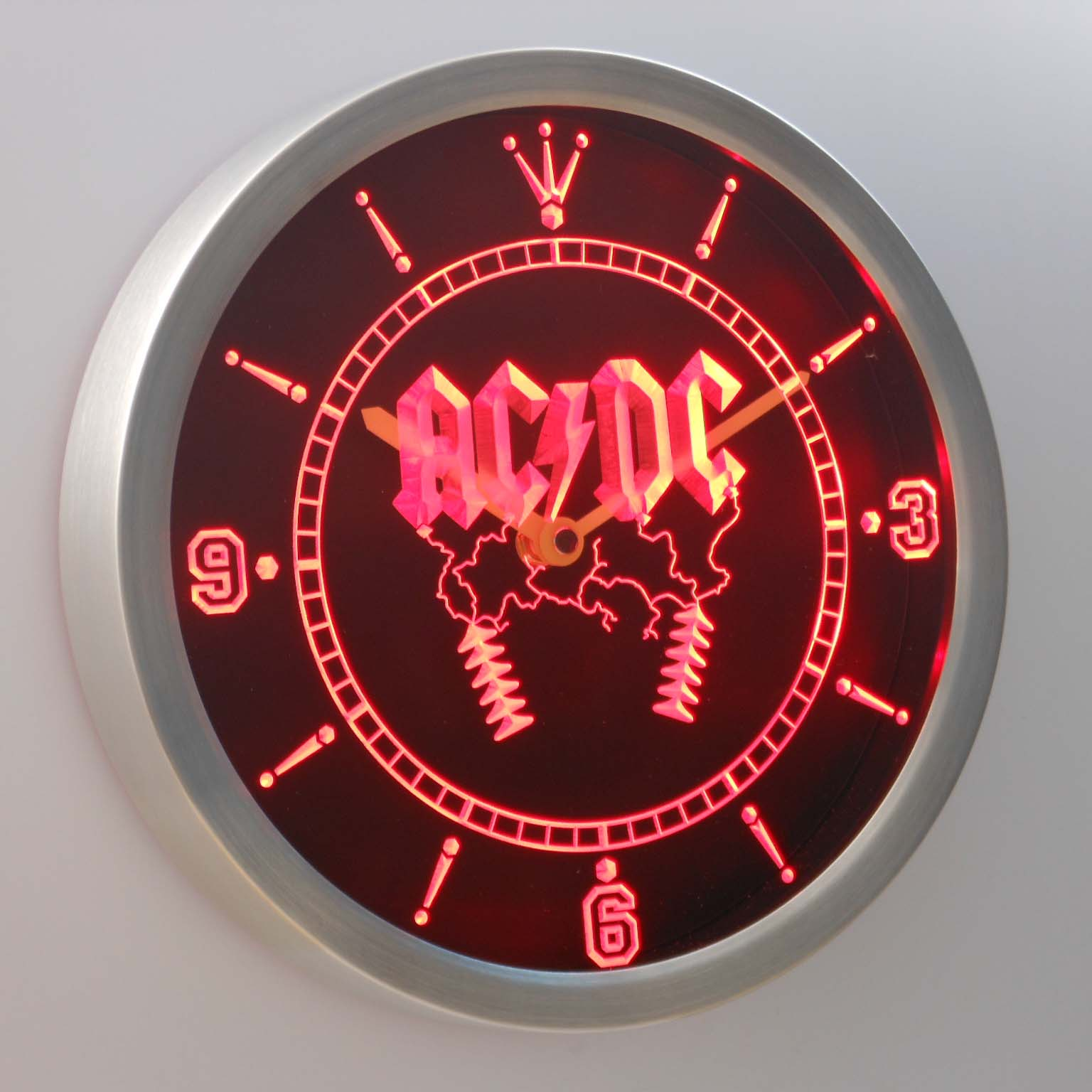 nc0142 ACDC AC/DC Rock n Roll Bar Beer Neon Sign LED Wall Clock