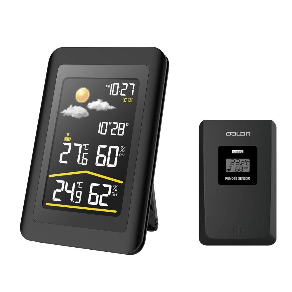 Baldr cyfrowa stacja pogody w/na zewnątrz temperatura czujnik wilgotności drzemki zegar podwójny Alarm zegar termometru barometr ue wtyczka w Wskaźniki temperatury od Dom i ogród na  Grupa 1