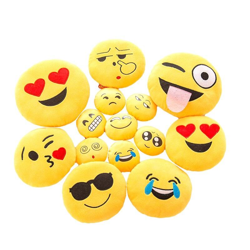 12 6 Inch Smiley Face Emoji Pillows Soft Plush Emoticon Round Seat/Back  Cushion Throw Pillows Home Decor Cute Cartoon Toy Doll