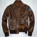 Envío gratis! cuero viejo hombre marca chaqueta de cuero grabado segunda guerra mundial vuelo de la fuerza aérea trajes genuino coat / M-3XL cuero