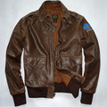 Free shipping ! Old cowhide men brand Leather jacket Engraved World War II Air Force flight suits Genuine leather coat / M-3XL