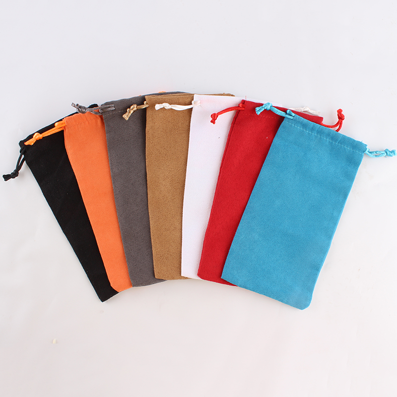 10pcs/lot 9*18cm Suede Drawstring Pouch Mixed Color Factory Wholesale Small Packing Jewelry Phone Pouch Bag