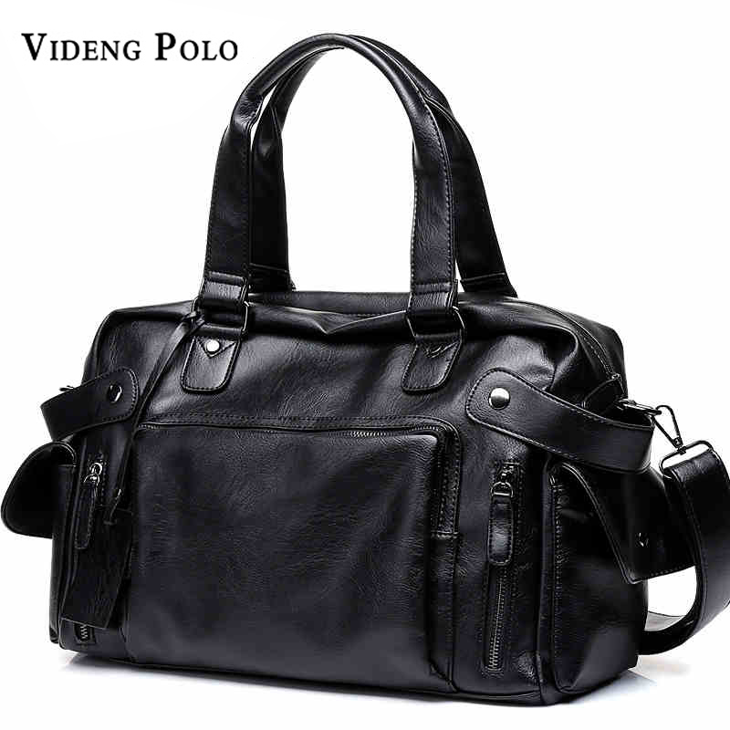 VIDENG POLO Brand High Quality Men Travel Bag Leather leisure Male Handbag Vintage Shoulder Bag Men Messenger Duffel Tote Bag jason tutu promotions men shoulder bags leisure travel black small bag crossbody messenger bag men leather high quality b206