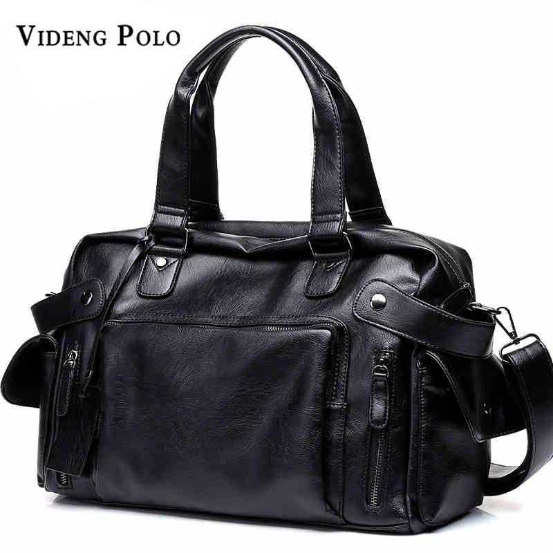 VIDENG POLO Brand High Quality Men Travel Bag Leather leisure Male Handbag Vintage Shoulder Bag Men Messenger Duffel Tote Bag